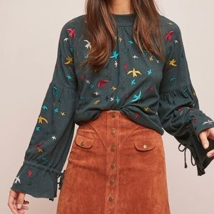 Anthropologie Ranna Gill Egret Embroidered top